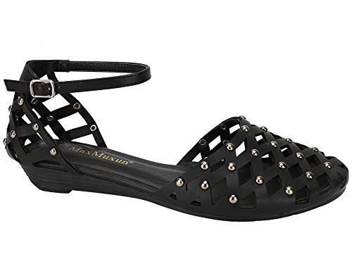 MaxMuxun Womens Roman Ankle Strap Cage Closed Toe
