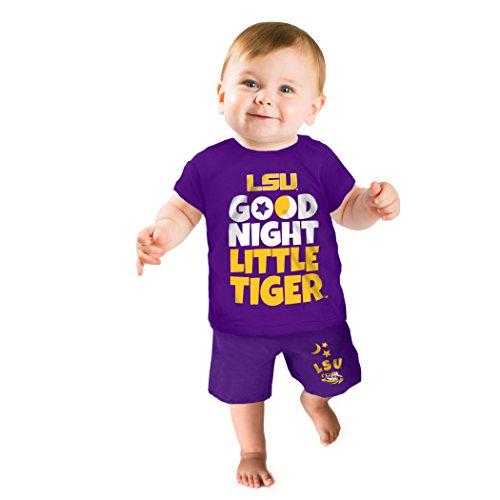 NCAA LSU Tigers Boys Short Pajama Set, 0-3 Months, Purple