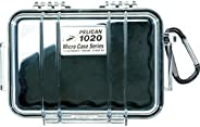 Pelican 1020-025-100 Micro Case with Clear Lid and Carabineer (Black)