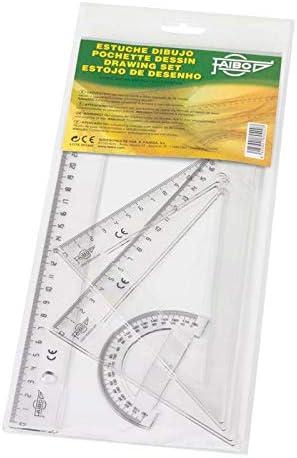 Faibo - Estuche con regla, escuadra, cartabón y semicírculo, transparente: Amazon.es: Oficina y papelería