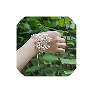 alerghrg Fresh Pearls Beaded Wedding Wrist Flowers Bridesmaid Marriage Crystal Corsages Wristband Flowers Bridal Bracelet,Silver 71