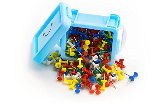 Officepal Push Pins with Colorful Plastic Head and Steel Needle Point (180 (Colored Presentation Push Pins)