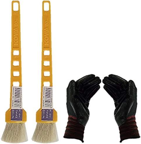 黄柄エナメルハケM 2本セット(作業手袋付き)通常便
