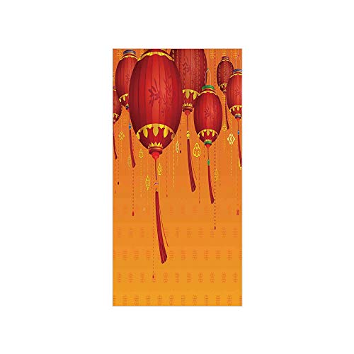 Decorative Privacy Window Film/Decorative Chinese Lanterns Hang on the Air New Year Asian Art Style Graphic Design Decorative/No-Glue Self Static Cling for Home Bedroom Bathroom Kitchen Office Decor -