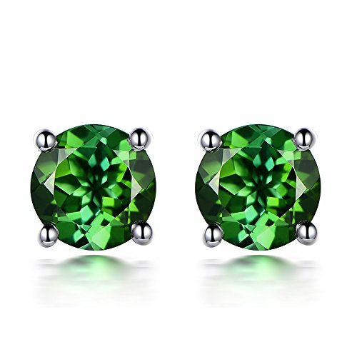 Fashion Jewelry White Gold 14K Genuine Green Tourmaline Gemstone Real Promise Wedding Engagement Stud Earring Sets by Kardy