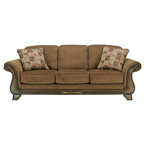 - Ashley Furniture Signature Design - Montgomery Sleeper Sofa with 2 Accent Pillows - Queen Mattress - Traditional - Mocha