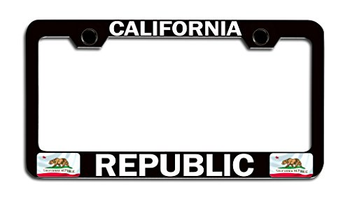 Makoroni - CALIFORNIA REPUBLIC Californian Bl Steel License Plate Frame, License Tag Holder