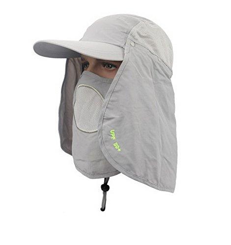 Outdoor Jungle Fishing 360 Degree UV Protection Sun block Hat Folding Visor Cap Mesh Bucket Flap Hats(Light Grey) ()
