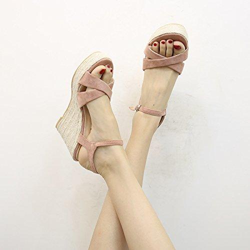 con aperta estivo a donna Bohemia sandali spillo in con Tacco YMFIE sandali paglia Comodi Fashion A punta n4UwzWXT
