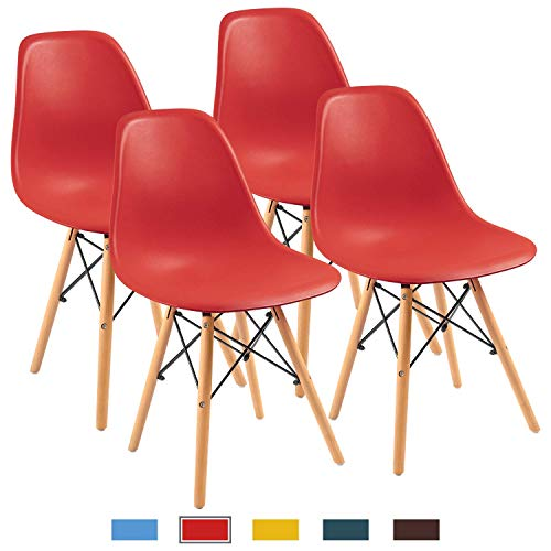Chairs 4 Red Set (Furmax Pre Assembled Modern Style Dining Chair Mid Century Modern DSW Chair, Shell Lounge Plastic Chair for Kitchen, Dining, Bedroom, Living Room Side Chairs (Red))