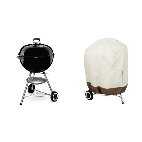 Weber 741001 Original Kettle 22-Inch Charcoal Grill & AmazonBasics Kettle Grill Cover by Weber