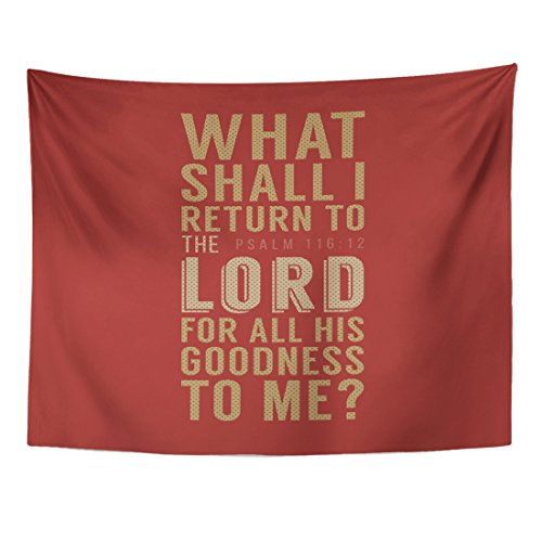 Emvency Tapestry Catholic What Shall I Return to The Lord for All His Goodness Me Christian Bible Verse from Psalm Christ Home Decor Wall Hanging for Living Room Bedroom Dorm 60x80 inches by Emvency