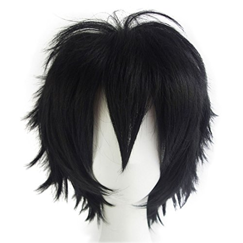 (Alacos Men's Handsome Synthetic Black Short Straight Hair Wig Cosplay Party Dress up Wig Hair+ Free Wig)