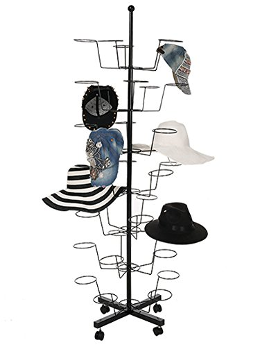 Ferty 7 Tier Display Hat Rack Rotating 35 Hat Adjustable Metal Floor Stand -Black[US STOCK] by Ferty