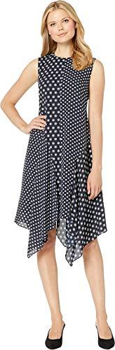 - VINCE CAMUTO Womens Sleeveless Diamond Edge Geo Asymmetrical Hem Dress Classic Navy 10