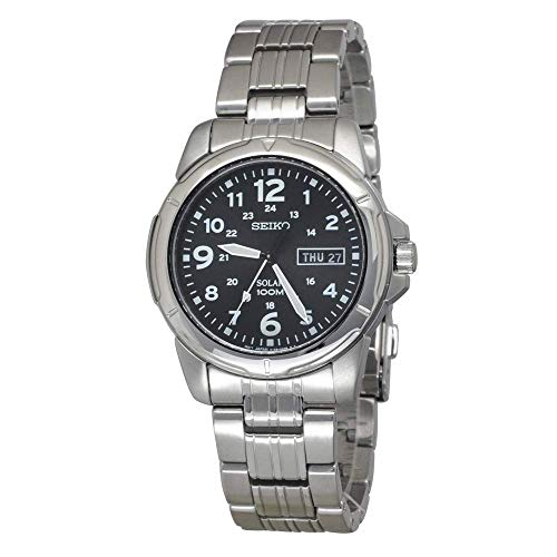 Seiko Men's Analogue Solar Powered Watch with Stainless Steel Strap SNE095P1 ()