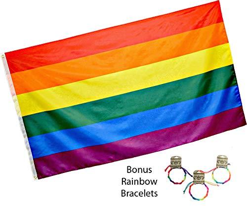 OBI Rainbow Flag 3x5 feet w/Grommets Plus Bonus 3 Friendship Braided Rainbow Bracelets - Gay Lesbian LGBT Pride