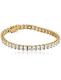 "Platinum or Gold-Plated Sterling Silver Princess-Cut Swarovski Zirconia Tennis Bracelet (5mm), 7.25"""