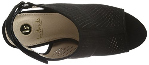 La Sandalias Mujer Black Strada Suede Leather Sandal Negro Look qqO4A