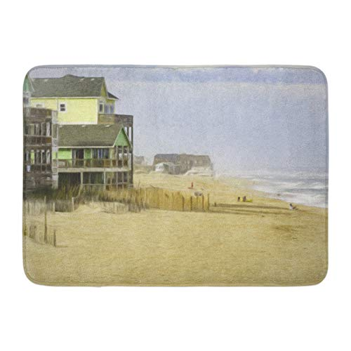 Emvency Doormats Bath Rugs Outdoor/Indoor Door Mat Oceanside Beach at Rodanthe on Hatteras Island in The Outer Banks of North Carolina USA Digital Painting Bathroom Decor Rug Bath Mat 16