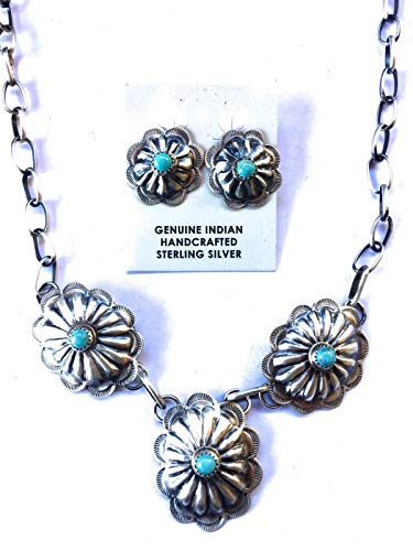 Turquoise And Sterling Silver Concho Set Stamped And Signed
