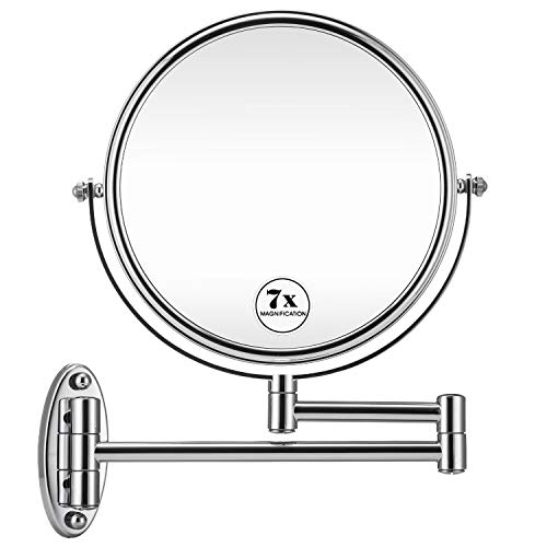 GloRiastar 7X Wall Mounted Makeup Mirror - Double Sided Magnifying Makeup Mirror -