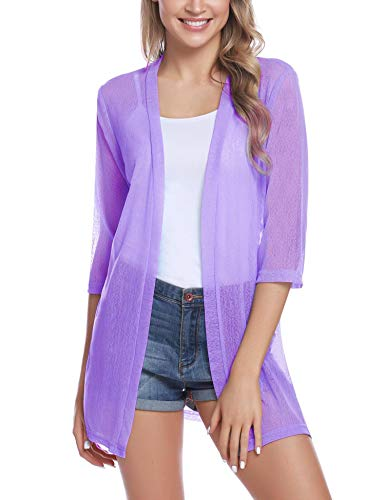 iClosam Women Casual 3/4 Sleeve Sheer Open Front Cardigan Sweater (Light Purple, X-Large)