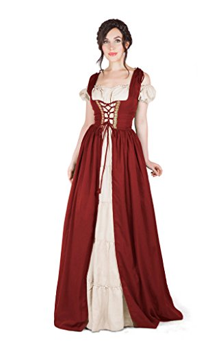 Boho Set Medieval Irish Costume Chemise and Over Dress (2XL/3XL, Cranberry)]()