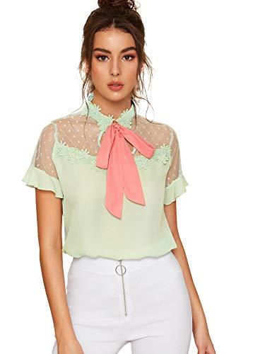 (Floerns Women's Short Sleeve Tie Neck Mesh Patchwork Chiffon Blouse Green L)