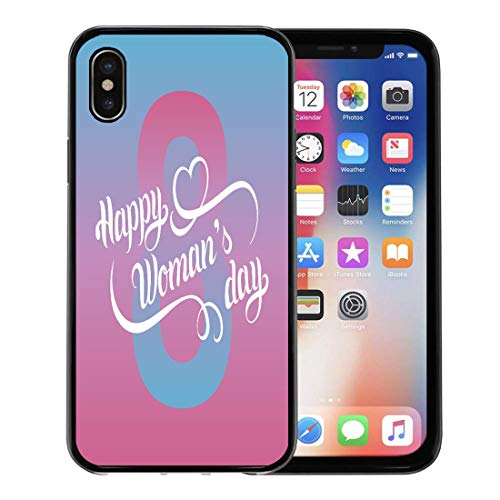 Emvency Phone Case for Apple iPhone Xs Case/iPhone X Case,Happy Woman Day Vintage Love March 8 Handwritten Cursive Soft Rubber Border Decorative, Black