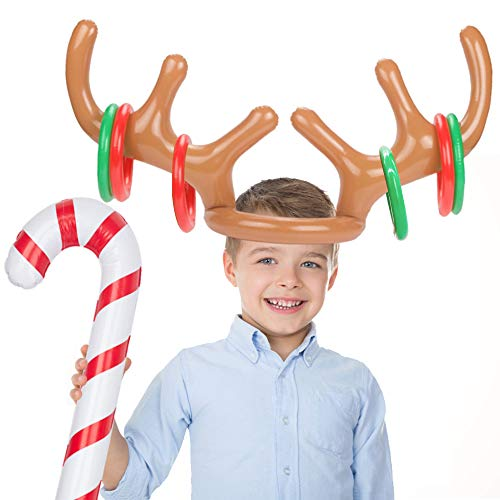 Koogel Inflatable Reindeer Antler Hat Ring Toss Game with Rings Hoopla Game for Family Kids Christmas Party New Year Party Favors