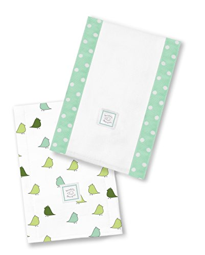 SwaddleDesigns Baby Burpies, Set of 2 Cotton Burp Cloths, SeaCrystal Little Chickies by SwaddleDesigns