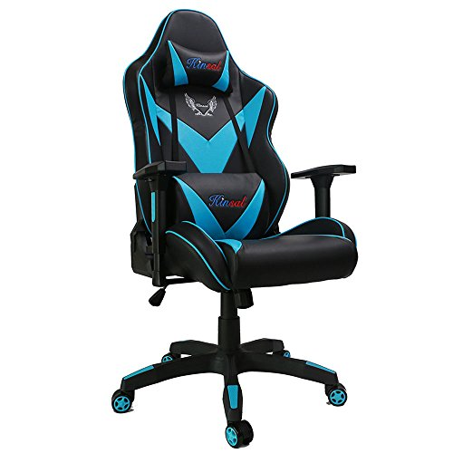Kinsal Large Size Big and Tall Computer Gaming Chair, High-back Ergonomic Desk Chair Racing Chair, Leather Office Chair Including Headrest and Lumbar Support (Blue) Kinsal