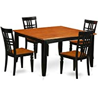East West Furniture PFLG5-BCH-W 5Piece Dining Room Set with One Parfait Dining Table & 4 Kitchen Chairs in black & Cherry Finish
