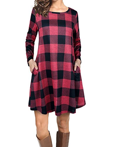 Faddare Swing Dress with Pockets,Teenagers Cozy Plaid Dresses,Black Red XL