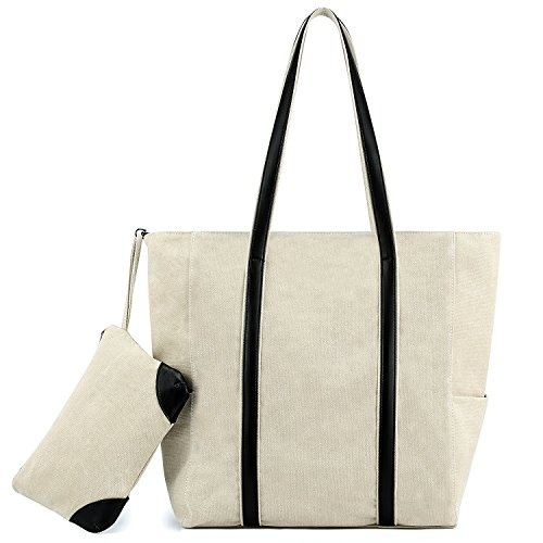 Plambag Canvas Shopper Tote Large Top-Handle Shoulder Bag + Pouch ()