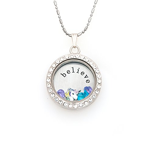 Fuller Joy 30mm Round Rhinestone Magnetic Floating Locket Necklace with Charms (Believe Unicorn)