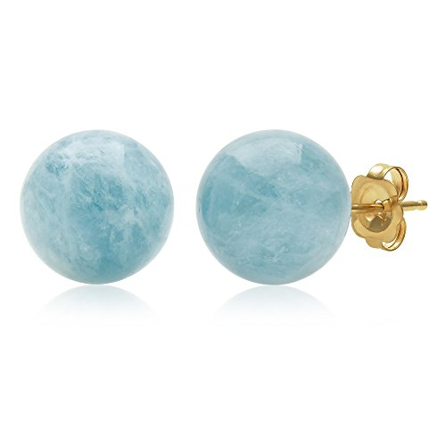 14K Yellow Gold 10mm Natural Milky Aquamarine Gemstone Round Blue Stud Earrings