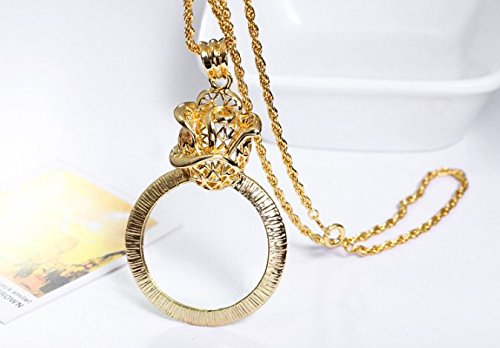 Magnifier Necklace Magnifying Glass Pendant Necklace Vintage Pendant Reading Accesories Books Lover Glass Pendant Jewelry Magnifying Glass Jewellery Eye Glass Necklace Monocle (Gold(Rose)) (Pendant Light Rose Glass)