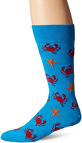- Hot Sox Men's Crab and Starfish Crew Sock, Turquoise, Shoe: 10-13