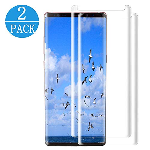 [2 Pack] Galaxy Note 9 Tempered Glass Screen Protector, Full 3D Curved Edge Screen HD Clear Military Shield Anti-Bubble Case Friendly Tempered Glass Screen Protector Compatible Samsung Galaxy Note 9 by my-handy-design