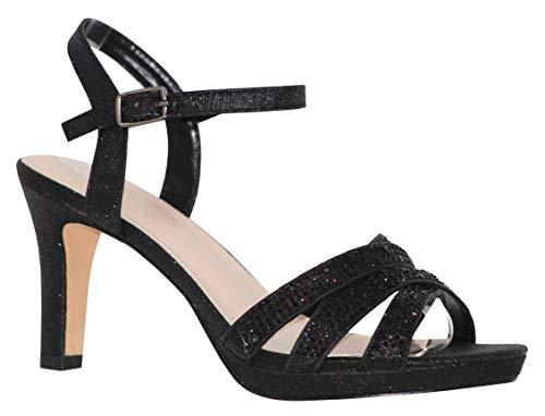 (MVE Shoes Women's Open Toe Low Heel Strappy Adjustable Ankle Strap, NICOLE-28 Black 10)