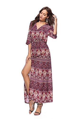 nbsp;Bohemian Beach 171 nbsp;Maxi Row Dobeans Dresses Single Printing Long Boho nbsp;Button nbsp;Dresses qSfwfC