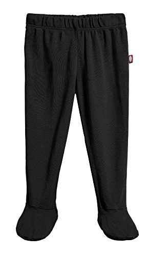 City Threads Unisex Baby Footed Pants 100% Certified Organic Cotton for Newborn and Infants, Black, 18/24m
