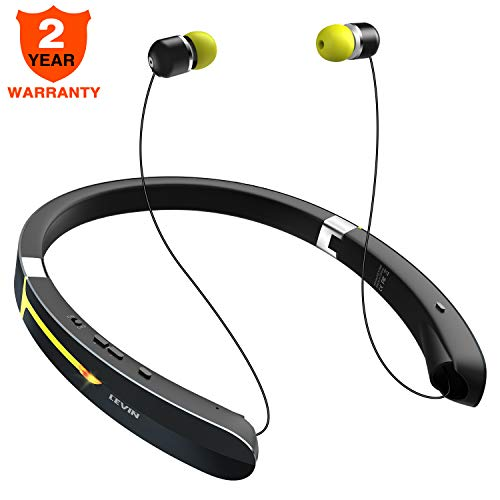 Bluetooth Headphone Wireless Neckband Headset - Lightweight Sweatproof Sport Earphones w/Mic Call Vibrate Alert, Retractable Earbuds for Android Cellphone Tablets TV ()