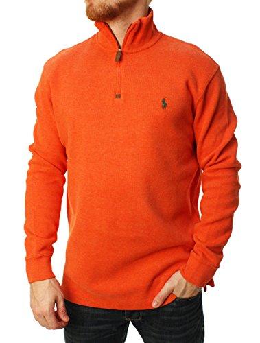 - Polo Ralph Lauren Men Half Zip French Rib Cotton Sweater (S, Matterhorn Orange)