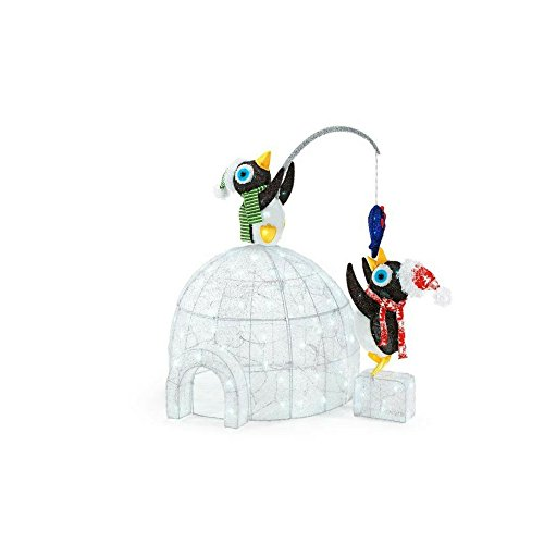 48 in. LED Lighted Tinsel and Acrylic Igloo with Fishing Penguins by Home Accents Holiday (Image #1)
