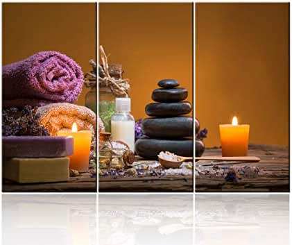 3 Piece Canvas Wall Art for Living Room - Spa Still Life with Aromatic Candles and Zen Stones for Home Decoration - Modern Home Decor Stretched and Framed Ready to Hang - 28 x 14 inch x 3 panels