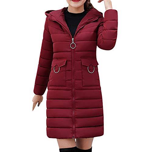 (Coats For Women On Sale, Clearance!! Farjing Women Winter Sale Warm Coat Hooded Thick Warm Slim Jacket Long Overcoat(S,Wine))