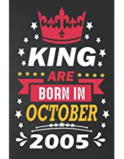 16th Birthday Gifts : King are Born in October 2005: Funny Personalised Birthday Notebook Journal 16 Years Old Gift Idea for Adult Son Boys Bday Gifts ( a5 notebook ), Great alternative to a cards